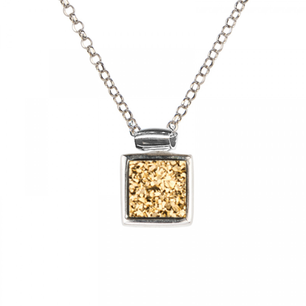 GOLDEN DRUSY AND 10MM SQUARE PENDANT WITH TRIPLE  by Frederic Duclos