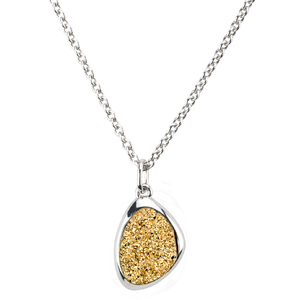 STERLING SILVER GOLDEN DRUSY WANDA NECKLACE by Frederic Duclos