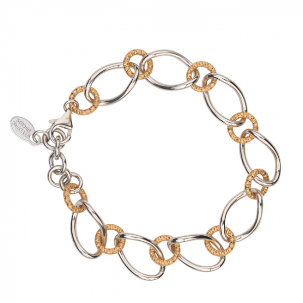 STERLING SILVER YELLOW GOLD PLATED OVAL LINK BRACELET by Frederic Duclos