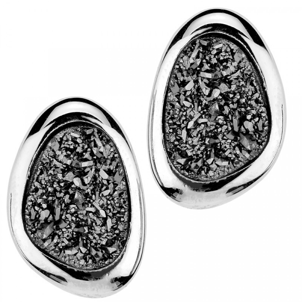 STERLING SILVER LIGHTNING DRUSY WANDA EARRINGS by Frederic Duclos