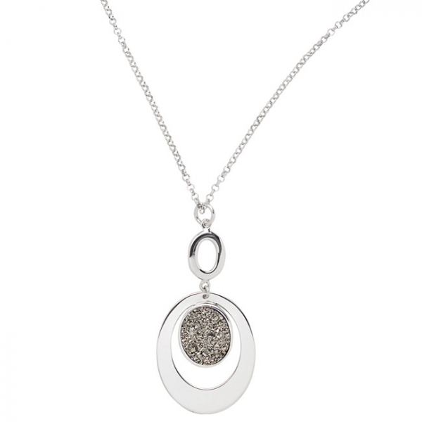 STERLING SILVER LIGHTNING DRUSY OVAL NECKLACE by Frederic Duclos